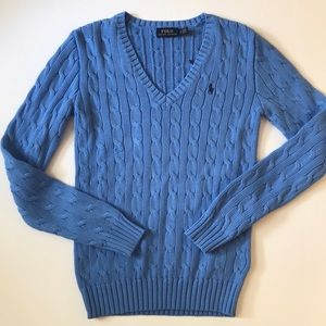 Polo Ralph Lauren Cable Knit V neck Sweater NWOT